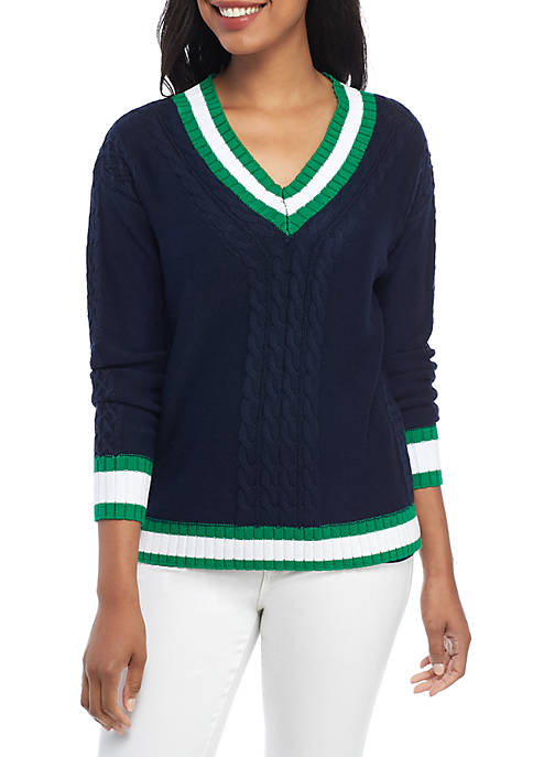 Crown & Ivy™ Long Sleeve V Neck Sweater