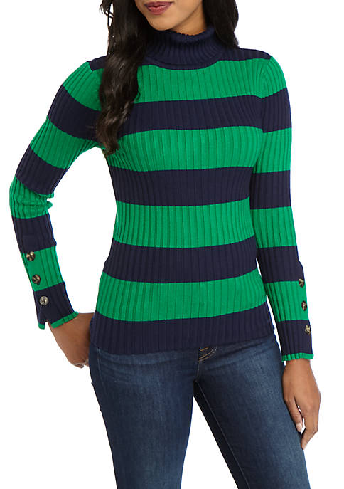 Crown & Ivy™ Long Button Sleeve Turtleneck Sweater