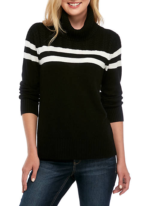 Crown & Ivy™ Womens Cable Stripe Sweater