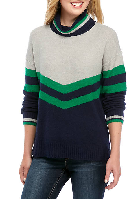 Crown & Ivy™ Womens Color Blocked Sweater