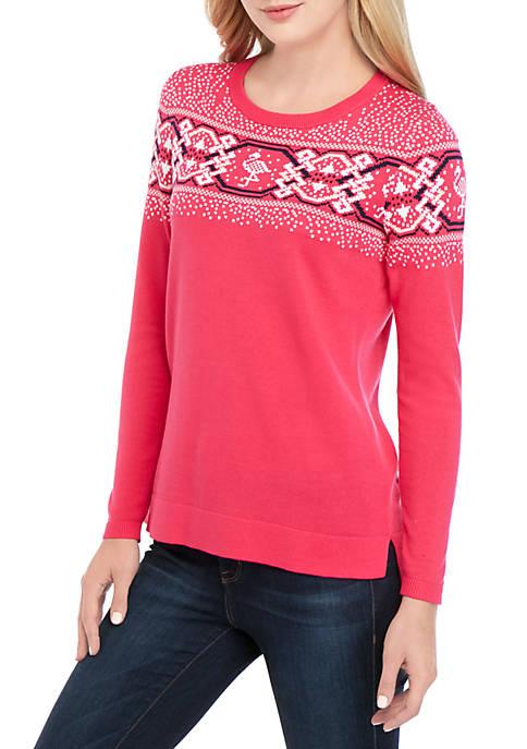 Crown & Ivy™ Long Sleeve Fair Isle Sweater
