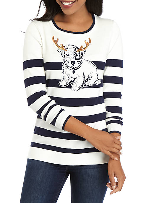 Crown & Ivy™ Womens Long Sleeve Intarsia Sweater