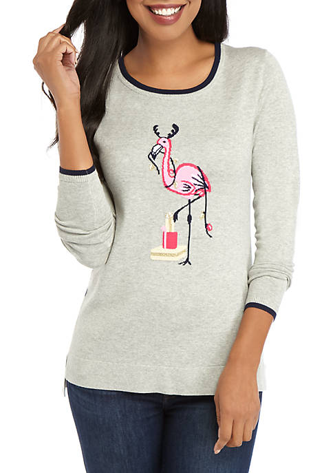 Crown & Ivy™ Womens Heathered Long Sleeve Intarsia