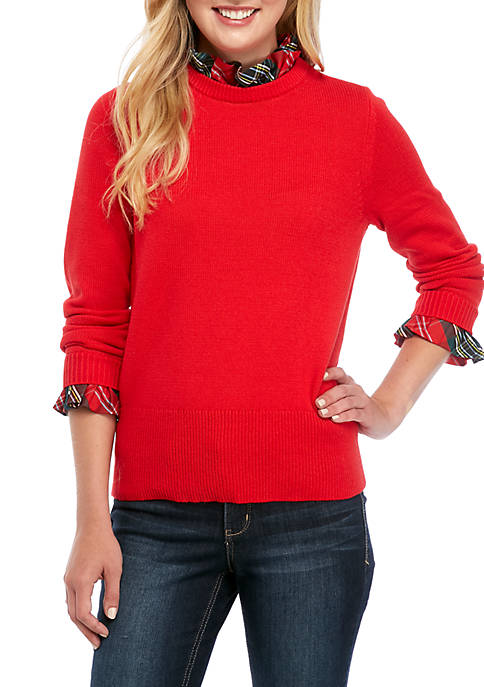 Crown & Ivy™ Womens Long Sleeve Bow Ruffle