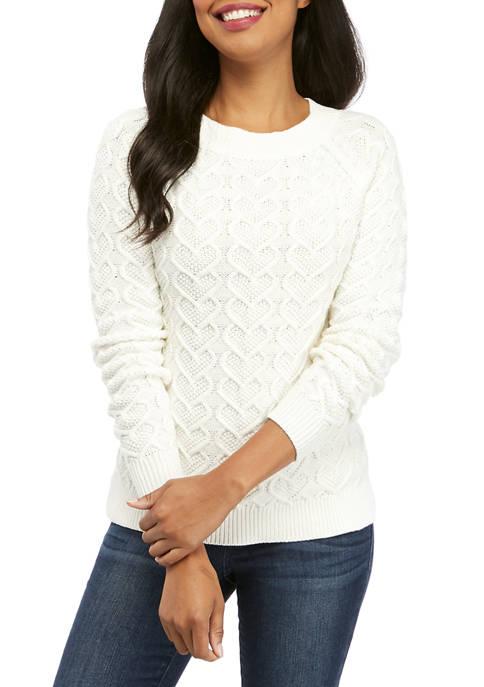 Womens Long Sleeve Heart Knit Solid Sweater