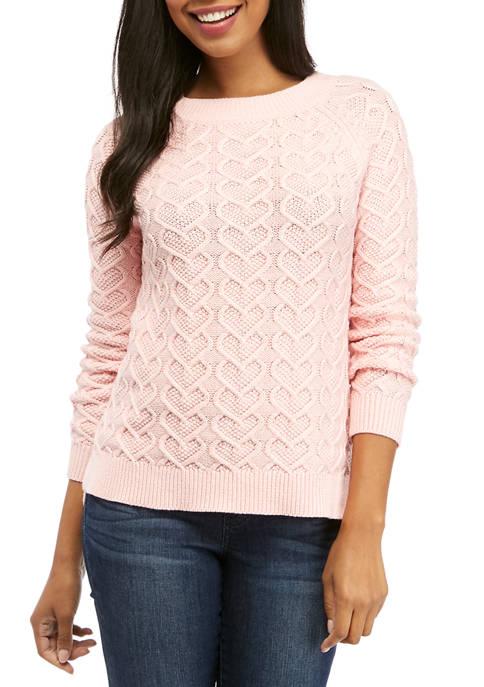 Crown & Ivy™ Womens Long Sleeve Heart Knit