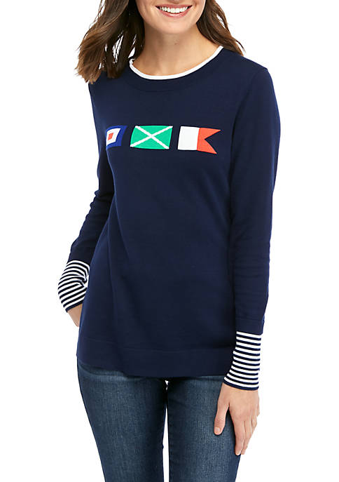 Crown & Ivy™ Womens Long Sleeve Graphic Sweater