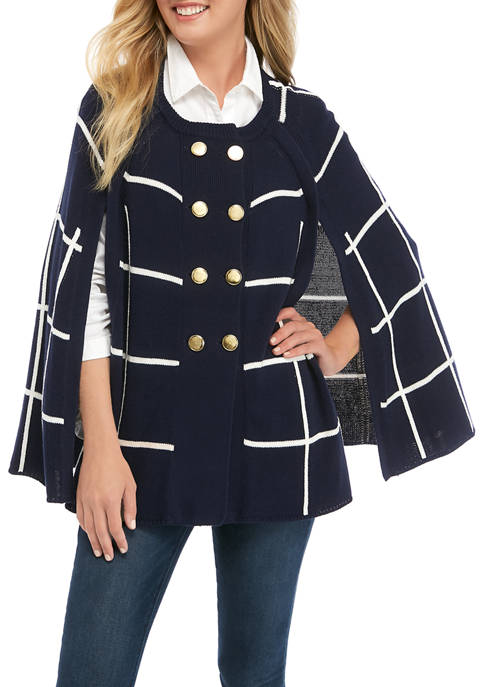 Crown & Ivy™ Womens Double Breasted Sweater Cape