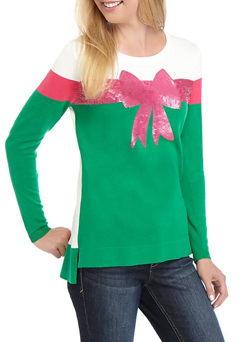 Crown & Ivy™ Womens Long Sleeve Intarsia Sweater