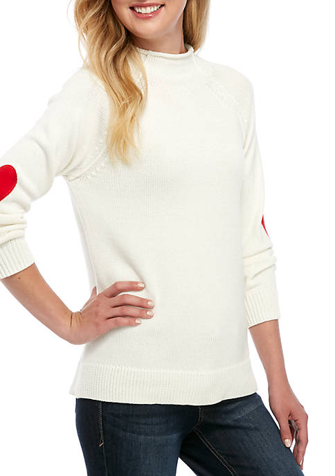 Womens Long Sleeve Heart Patch Solid Sweater