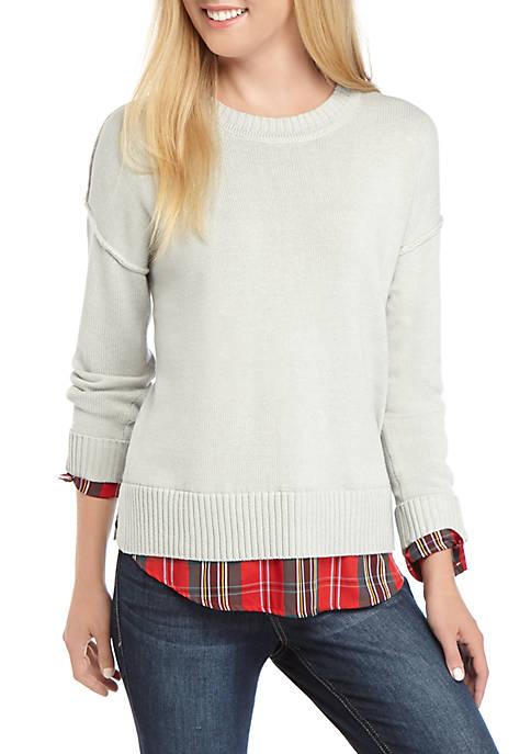 Crown & Ivy™ Womens Long Drop Shoulder Sleeve