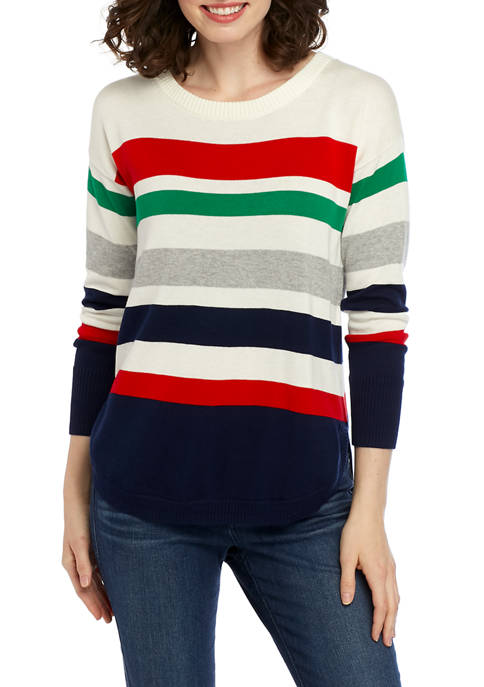 Crown & Ivy™ Long Sleeve Striped Sweater