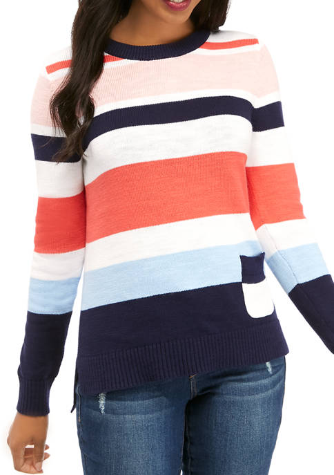 Crown & Ivy™ Womens Long Sleeve Stripe Hem
