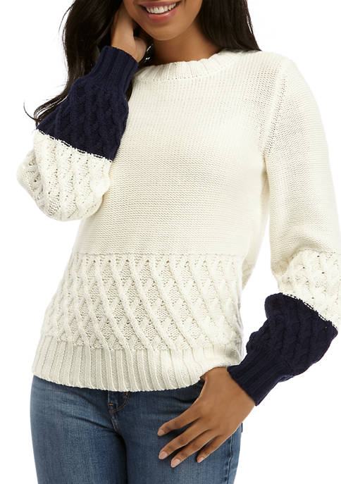 Crown & Ivy™ Womens Long Sleeve Color Block