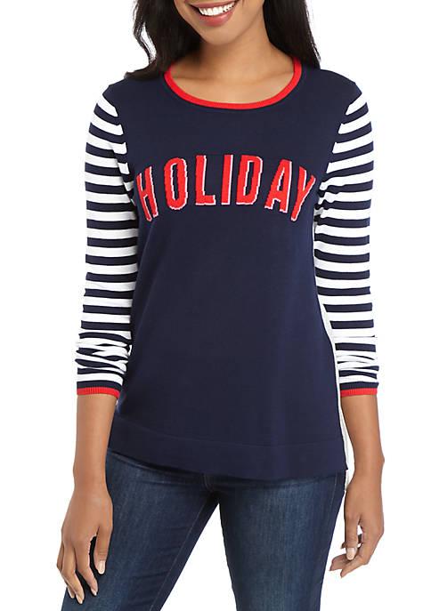 Womens Long Sleeve Intarsia Sweater