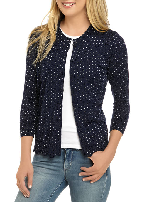 Crown & Ivy™ Womens Long Sleeve Scallop Printed