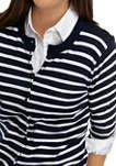 Womens Long Sleeve Scalloped Yarn Dye Cardigan
