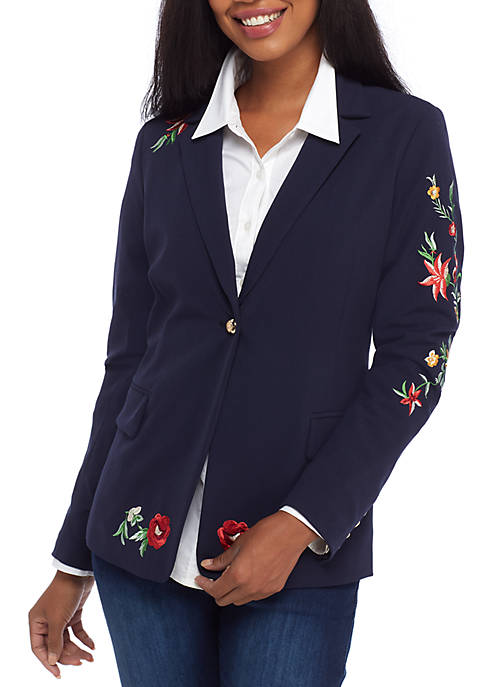 Crown & Ivy™ Long Sleeve Embroidered Solid Blazer