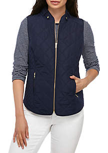 Crown & Ivy™ Sleeveless Quilted Vest