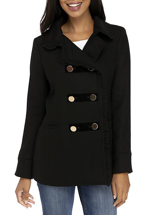 Crown & Ivy™ Ruffle Trim Coat
