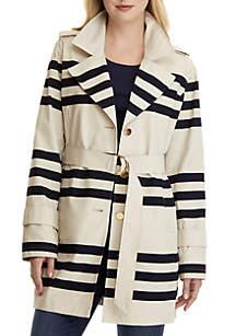 Long Sleeve Stripe Trench Coat