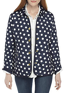 Long Sleeve Polka Dot Quilted Jacket