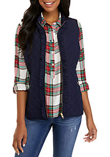 Ruffle Front Solid Quilted Vest