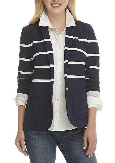 Crown & Ivy™ Long Sleeve Nautical Blazer