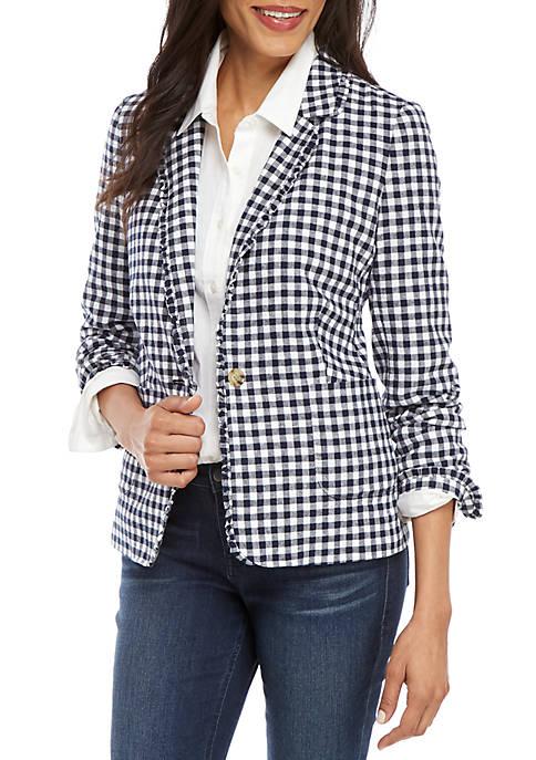 Crown & Ivy™ Long Sleeve Gingham Blazer