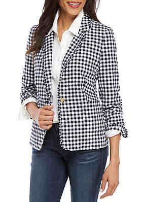 5ec772b24fb Crown   Ivy™ Long Sleeve Gingham Blazer ...