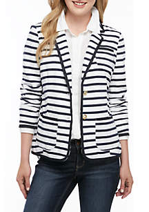 Crown & Ivy™ Long Sleeve Striped Blazer
