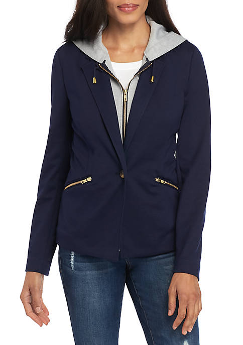 Crown & Ivy™ Long Sleeve Hood Blazer 2Fer