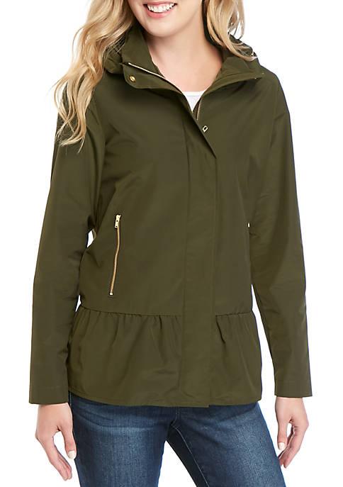 Long Sleeve Cowl Neck Peplum Jacket