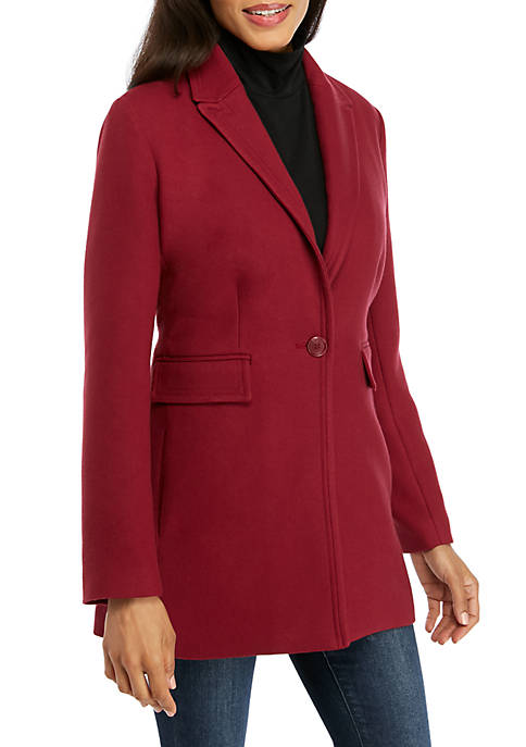 Crown & Ivy™ Womens Button Front Car Coat