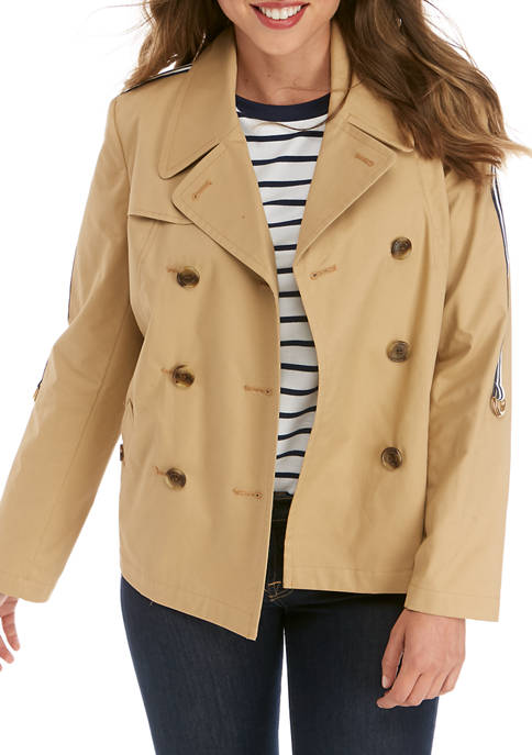 Womens Long Sleeve Cropped Trench Coat