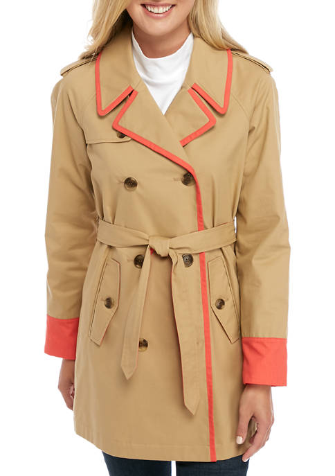Crown & Ivy™ Womens Long Sleeve Trench Tipped