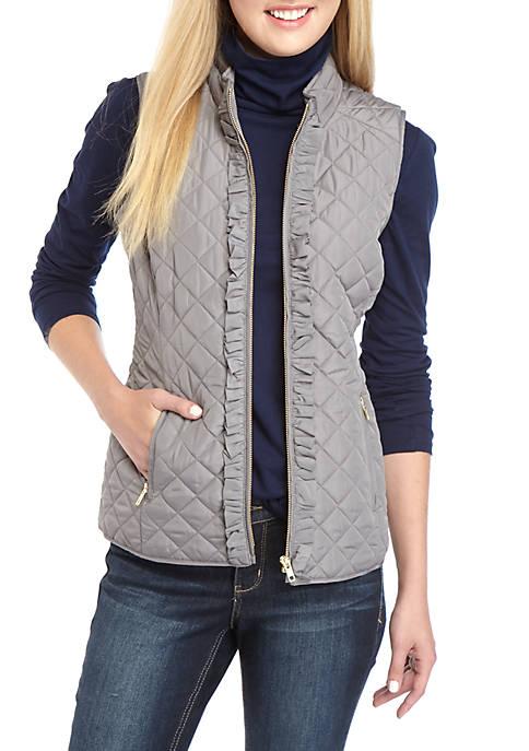 Crown & Ivy™ Sleeveless Ruffle Puffer Vest