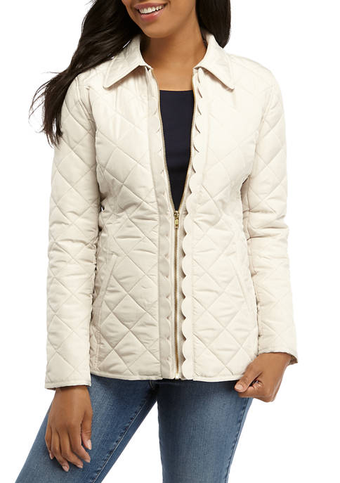 Crown & Ivy™ Womens Long Sleeve Quilted Scallop
