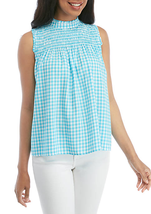 Crown & Ivy™ Sleeveless Smocked Yoke Top