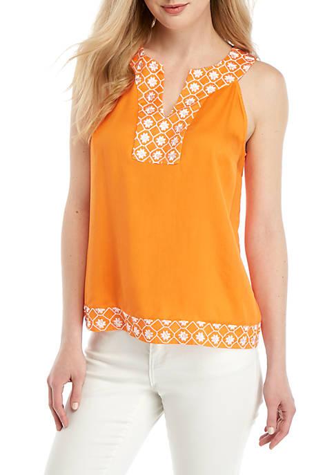 Crown & Ivy™ Sleeveless Halter Embroidered Dress