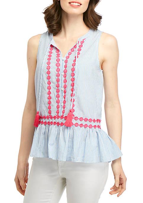 Sleeveless Embellished Peplum Top