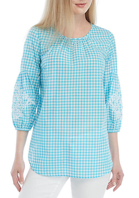 3/4 Embroidered Sleeve Peasant Top