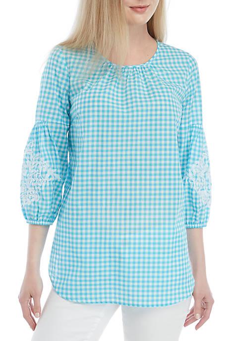 Crown & Ivy™ 3/4 Embroidered Sleeve Peasant Top