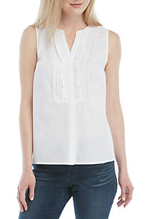 Crown & Ivy™ Sleeveless Ruffle Button Up Top