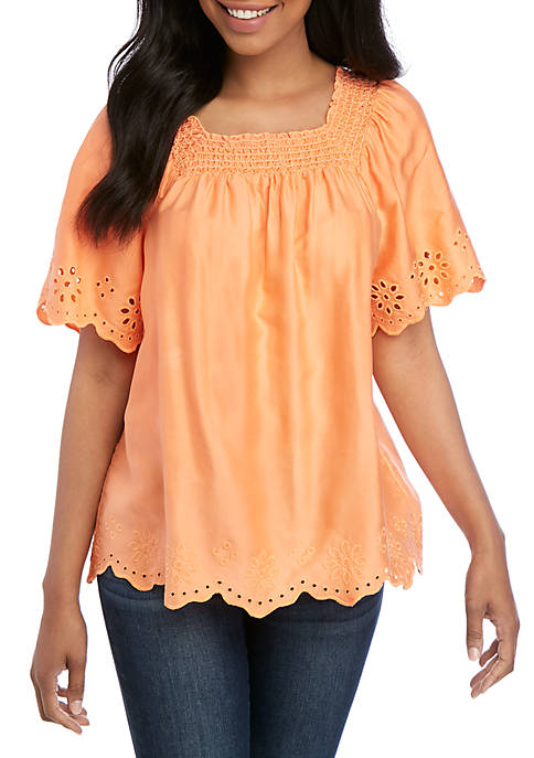 Short Sleeve Square Neck Scallop Top