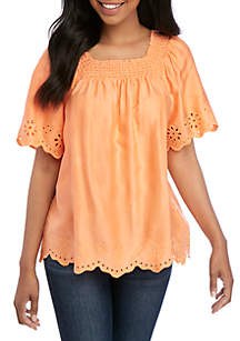 40e642d71f3ab0 ... Crown   Ivy™ Short Sleeve Square Neck Scallop Top