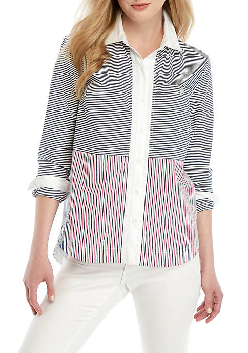 Crown & Ivy™ Long Sleeve Button Up Top
