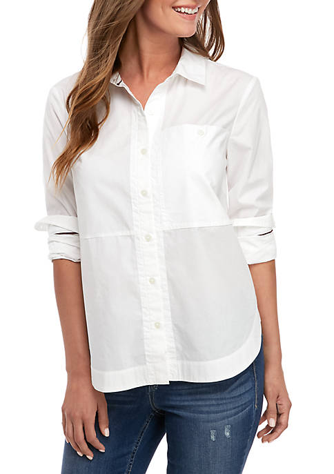 Long Sleeve Solid Button Up Shirt