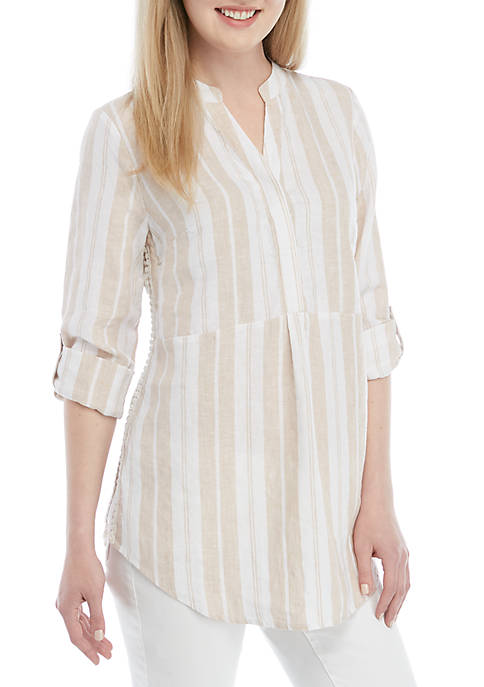 Crown & Ivy™ Striped Pom Side Tunic