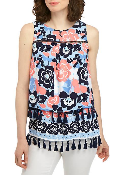 Crown & Ivy™ Sleeveless Tassel Hem Printed Top